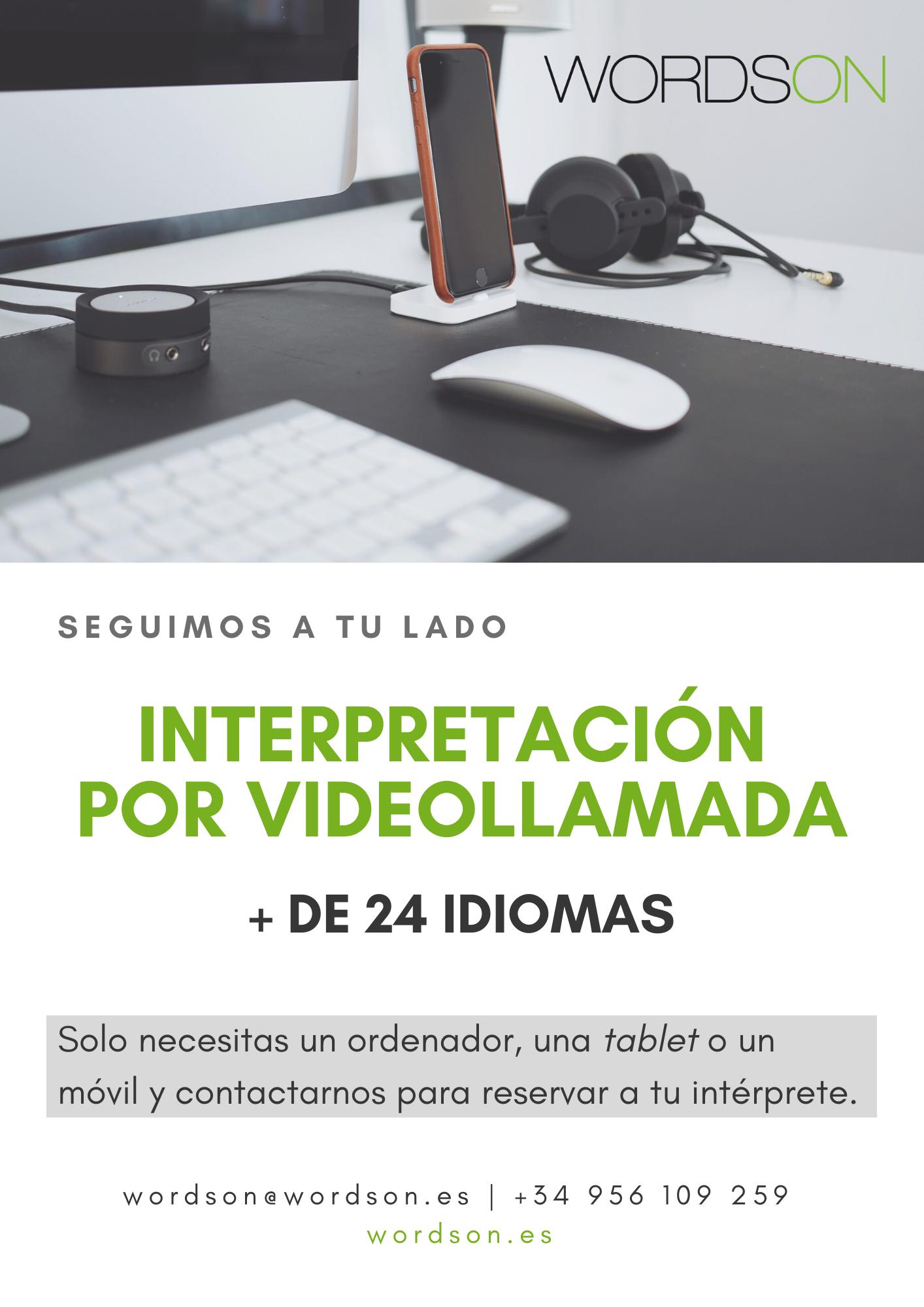 Interpretación por videollamada. + 24 idiomas